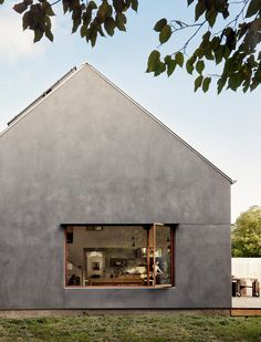 Exterior, Metal Roof Material, House Building Type, Gable RoofLine, and Stucco Siding Material A view of the home from the east side. Stucco Siding, Stucco Exterior, House Siding, Facade House, Houses In Austin, Fibreglass Roof, Architectural Photographers, Roof Design, Building A House