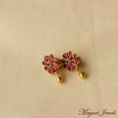 Gold Plated Pure Silver Ruby Earrings