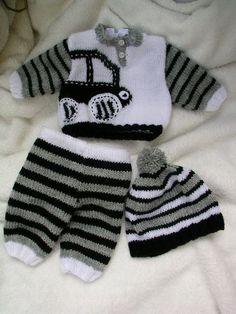 Autíčkový pletený komplet pro panenky