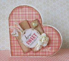 A Passion For Cards: Distressed heart card - Trimcraft Love Story papers
