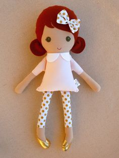 Fabric Doll Rag Doll Red Haired Girl in Pink Dress by rovingovine