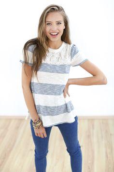 Tops - Shirt Darcy blau creme gestreift - ein Designerstück von Shoko bei DaWanda