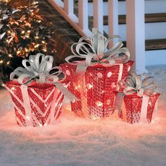Lighted Glittering Gift Bo Outdoor Christmas Decoration Set Of 3 Improvements