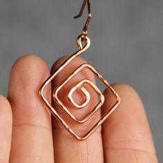Copper textured hammered Greek Key Pattern Earrings Bridesmaid