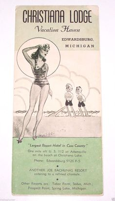 Vintage 'Christiana Lodge Vacation Haven' Brochure Edwardsburg Michigan G | eBay