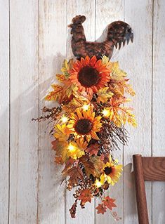Just love this rooster and sunflower kitchen decor for a country theme.
