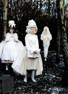 Xiao Wen Ju, Anais Pouliot and Frida Gustavsson for Vogue, May 2012.  Photographed by Tim Walker.