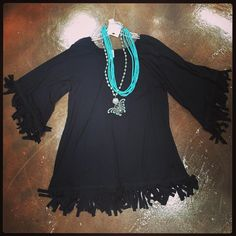 Black Fringe Tunic is perfect with your favorite turquoise jewelry! Available in S, L-3XL.