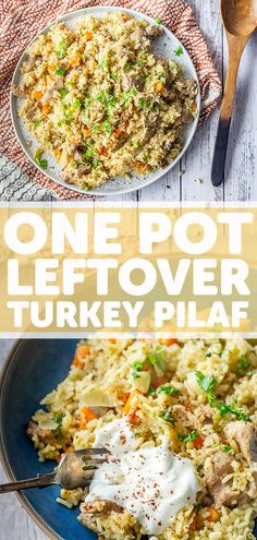 This pilaf is a light and healthy way to use up leftover turkey or chicken. It takes just one pot and you can add any vegetables you like. Vegetarian Recipes Easy, Spicy Recipes, Healthy Recipes, Delicious Recipes, Chicken Recipes, Healthy Side Dishes, Side Dishes Easy, Winter Dinner Recipes, Leftover Turkey