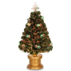 Artificial Tree 3' Fiber Optics Firework Christmas Trees with Multicolored Light #ArtificialTree3FiberOptic