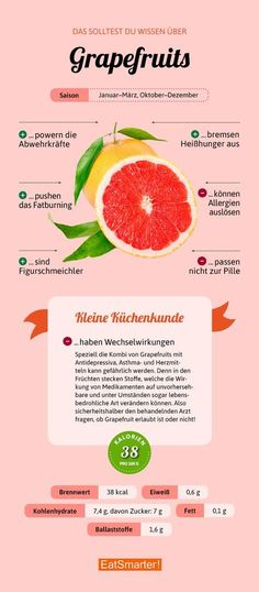You should know about grapefruit & eatsmarter.de The post Grapefruit appeared first on Food Monster. Health Facts, Health And Nutrition, Health Tips, Proper Nutrition, Nutrition Guide, Holistic Nutrition, Nutrition Tracker, Nutrition Store, Salmon Y Aguacate