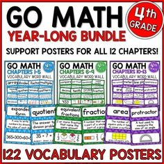 Math Word Wall Grade (Common Core Aligned) by Jillian Starr Math Vocabulary Wall, Vocabulary Cards, Number Words Chart, Math Folders, Add And Subtract Fractions, Math Word Walls, Go Math, Math Words, Math Journals