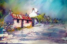 Fluid watercolor house barn