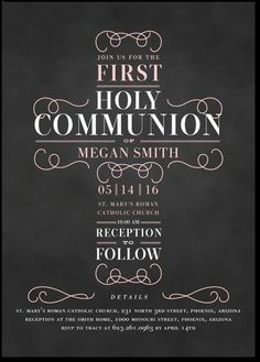Rightfully Just: Girl - Communion Invitations in Soft Pink or Chenille | Elk…