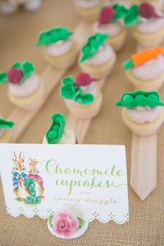 Chamomile cupcakes at a Peter Rabbit birthday party! See more party planning ideas at CatchMyParty.com!