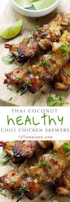 Coming in at under 250 calories per serving, Asian Thai Chili Coconut Chicken Skewers… There's a delicious sweetness from the coconut milk that accompanies a well-rounded and full flavor from all the spices. Throw in some red pepper flakes. Grilling Recipes, Seafood Recipes, Chicken Recipes, Cooking Recipes, Entree Recipes, Party Recipes, Cabbage Recipes, Dinner Recipes, Healthy Asian Recipes