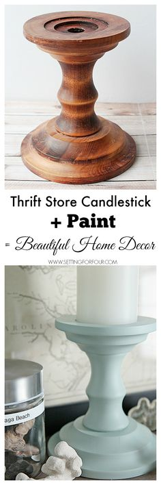 See how I turn thrift store finds into beautiful DIY home decor! Inexpensive Thrift Store painted candlesticks = Beautiful Home Decor! www.settingforfour.com