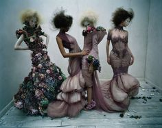 Models donned in Alexander McQueen S/S 2007 'Sarabande' photographed by Tim Walker for Vogue UK March 2015