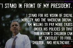 We stand in front of Obama.