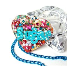Candy heart pendant sprinkles heart jewelry by sparklecityjewelry