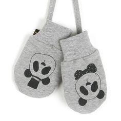 MINI RODINI Grey gloves with panda print From www.kidsandcouture.com