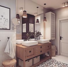 Image may contain: indoor Laundry In Bathroom, Bathroom Renos, Bathroom Ideas, Surf House, Double Vanity, Interior Inspiration, New Homes, Indoor, House Design