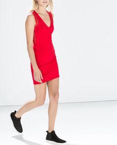 Image 2 of COMBINED DRESS from Zara Moda Zara, Vestidos Zara, Zara Fashion, Zara Dresses, Red Lace, Zara Women, Lace Dress, How To Wear, Collection