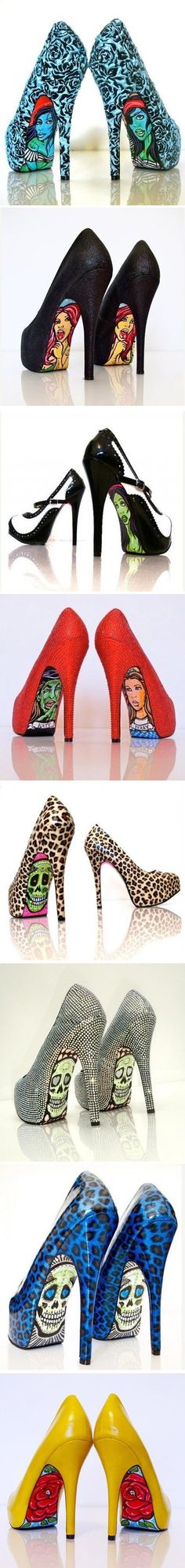 Taylor Reeve is a Californian artist who designs men's clothing for Quiksilver, accessories for Skullcandy, and creates shoes that stand out. She decorates shoe soles with bright unusual pictures like skulls, butterflies and portraits. ♥