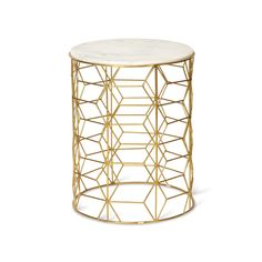 £195 L41 x W41 x H53cm Lounge option Buy the Gold Mica Side Table at Oliver Bonas. We deliver Furniture throughout the UK within 5-12 working days from £35.
