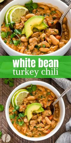 White Bean Turkey Chili is hearty healthy turkey chili with white beans fresh lime and plenty of spice! {GF} via White Bean Turkey Chili is hearty healthy turkey chili with white beans fresh lime and plenty of spice! {GF} via Flavor the Moments Healthy Recipes, Soup Recipes, Dinner Recipes, Cooking Recipes, Cooking Games, Juice Recipes, Sausage Recipes, Cooking Classes, Healthy Meals