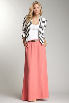 Coral maxi skirt, white top, brown belt, and black and white blazer (a cardi would work too).