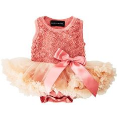 Rosette Onesie Pettiskirt Pink (0 3 mos) ❤ liked on Polyvore featuring baby