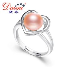 DAIMI Design Heart Shape Pearl Ring 8-9mm 925 Sterling Silver Jewelry Pink Freshwater Natural Pearl Rings For Girl's Gifts