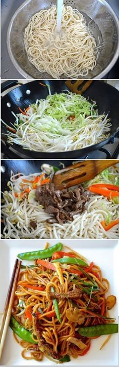 Beef Lo Mein Recipe, a Chinese take-out favorite. This Beef Lo Mein home-cooked version tastes awesome, is easy to make, uses more vegetables and less oil than takeout. It's a must-try beef lo mein recipe! Asian Recipes, Beef Recipes, Cooking Recipes, Healthy Recipes, Sirloin Recipes, Recipies, Kabob Recipes, Fondue Recipes, Asian Foods