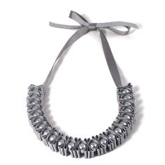 Grey 3 Pleat Pearl Ribbon Necklace by maneggi on Etsy, $30.00