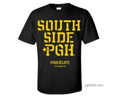 Southside Pittsburgh PGH Black T-shirt Yellow Print - PGH4Life™ Apparel I Clothing For Everyone Who Calls Pittsburgh Home I Shop The Pittsburgh Logo PGH™