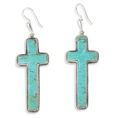 """Las Cruces Turquoise Earrings    Item # 9670  Crow's Nest Exclusive.   The drama is in the scale. Simple in sterling silver with large turquoise stone. 1"""" w x 2½"""" l. Made in the USA."""