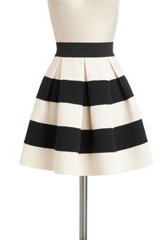 Stripe It Lucky Skirt - Multi, Black, White, Stripes, Pleats, Work, Scholastic/Collegiate, A-line