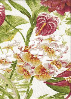 Tropical+Fabric | Summertime Ivory Tropical Botanical Vintage Hawaiian Fabric Hawaiian ...