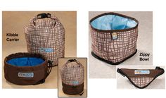 Kibble Carrier is part food bowl, part everyday kibble tote, this handy bag is made for adventures with your pup.