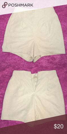 High Waist Shorts Tan high waisted shorts. Size XS. Only worn once. Slightly stretchy (97% polyester/ 3% elastic). Form fitting & extremely comfortable. Forever 21 Shorts