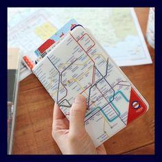 Brand New Indigo Passport Cover Case Holder - Map / London Subway