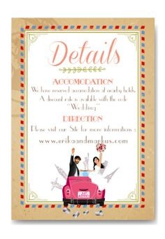custom travel wedding invitation and save the date card announcement - airmail vintage style - kraft paper just married car - world voyage - caricature avatar - personalized cartoon portrait from your photos