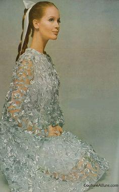 Teal Traina silver ribbons on sheer organza 1966