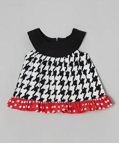 Look what I found on #zulily! White & Black Houndstooth Callie Yoke Top - Infant by Young Colors #zulilyfinds http://www.zulily.com/invite/kcrim608