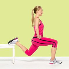 Butt Lift  Squat Dip:    Targets: Butt, quads, and hamstrings    Stand two feet from front of chair, facing away, feet hip-width apart, hands on hips.   Lift left leg and place top of left foot on seat behind you.   Lower into a single-leg squat, keeping right knee behind right toes and dipping left knee toward the floor; straighten right leg to stand.   Do 15 reps; switch legs and repeat.