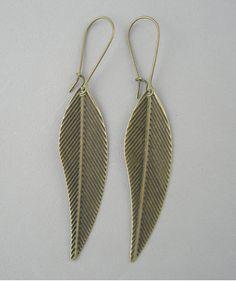 Antiqued Bronze Leaf Earrings