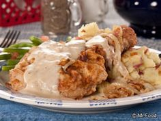 Hand-Breaded Pork Chops from @Sherry Gore - It's authentic Amish cooking at its finest with this easy weeknight pork chop recipe. Drizzle it with homemade gravy for a simply irresistible meal.