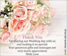 Thank you for sharing our wedding day. Happy Marriage Anniversary, Anniversary Message, Wedding Anniversary Wishes, Anniversary Greeting Cards, Wedding Thank You Quotes, Our Wedding Day, Thank You Cards, Personalized Gifts, Thankful
