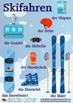 Winter Ski Deutsch Wortschatz Grammatik German DAF Vocabulario Alemán